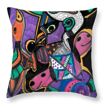 Throw Pillow featuring the drawing The Hunter by Don Koester