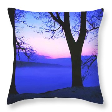 Throw Pillow featuring the painting The Hush At First Light by Sophia Schmierer