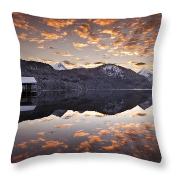 The Hut By The Lake Throw Pillow