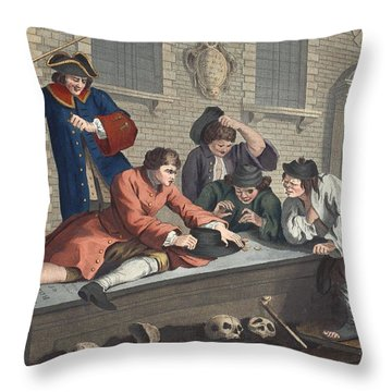 The Idle Prentice At Play In The Church Throw Pillow by William Hogarth