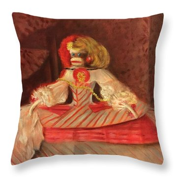 Throw Pillow featuring the painting The Infant Margarita by Randol Burns