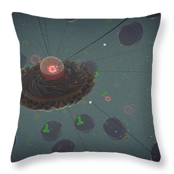 The Interior Of An Eukaryotic Cell Throw Pillow by Stocktrek Images