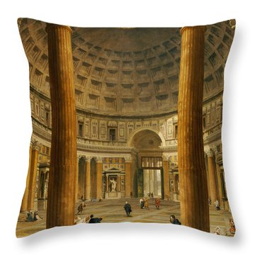 The Interior Of The Pantheon Throw Pillow by Giovanni Paolo Panini