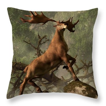 The Irish Elk Throw Pillow