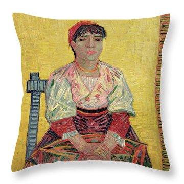 The Italian  Agostina Segatori Throw Pillow by Vincent Van Gogh