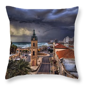 Throw Pillow featuring the photograph the Jaffa old clock tower by Ronsho