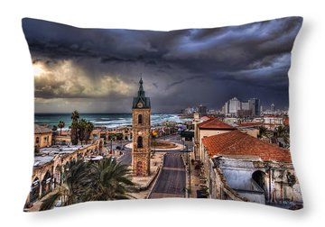 the Jaffa old clock tower Throw Pillow by Ronsho