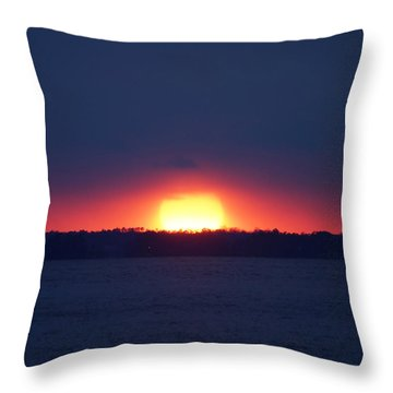 Throw Pillow featuring the photograph The James River Sunset by B Wayne Mullins