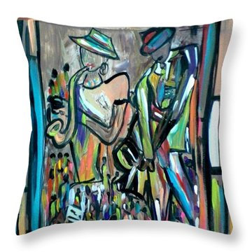 Blues Club Throw Pillow by Kelly Turner