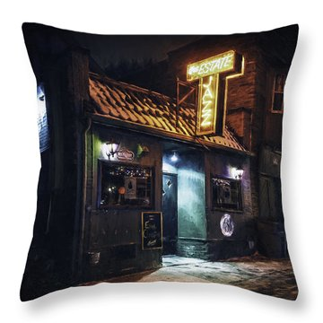 The Jazz Estate Nightclub Throw Pillow