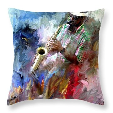 The Jazz Player Throw Pillow