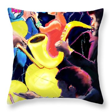 Throw Pillow featuring the digital art The Jazz Singers by Ted Azriel