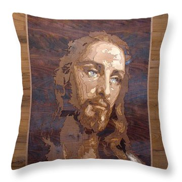 The Jesus Christ Marquetry Wood Work Throw Pillow by Persian Art