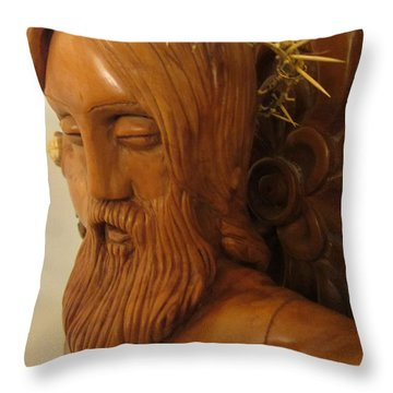 The Jesus Christ Sculpture Wood Work Wood Carving Poplar Wood Great For Church 3 Throw Pillow by Persian Art