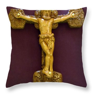 The Jesus Christ Sculpture Wood Work Wood Carving Poplar Wood Great For Church Throw Pillow by Persian Art