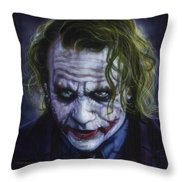 The Joker Throw Pillow by Timothy Scoggins