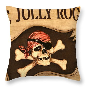 The Jolly Roger Throw Pillow by Kathy Clark