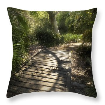 Throw Pillow featuring the photograph The Journey Along The Path Comes With Light And Shadows by Lucinda Walter