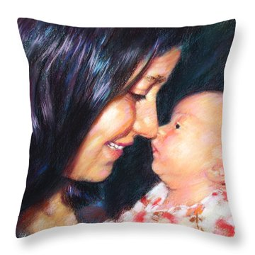 Throw Pillow featuring the drawing The Joy Of A Young Mother by Viola El