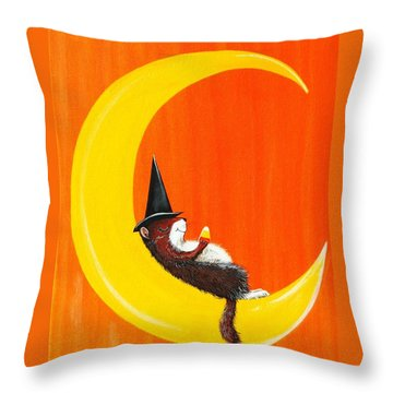 Throw Pillow featuring the painting The Joy Of Halloween by Jennifer Lake