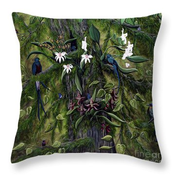 The Jungle Of Guatemala Throw Pillow by Jennifer Lake