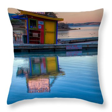 The Kayak Shack Morro Bay Throw Pillow by Terry Garvin