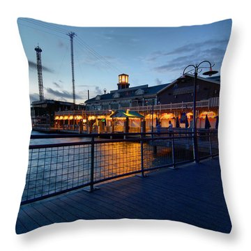 The Kemah Boardwalk Throw Pillow