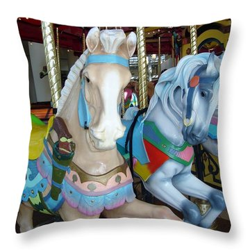 The Kids Are Waiting To Ride. Throw Pillow