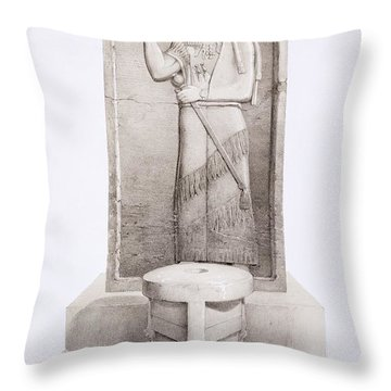 The King And Sacrificial Altar, Nimrud Throw Pillow by English School