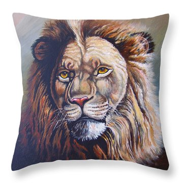 Throw Pillow featuring the painting The King by Anthony Mwangi
