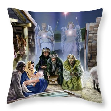 The King Of Kings Is Born Throw Pillow by Reggie Duffie