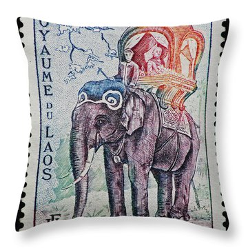Throw Pillow featuring the photograph The King's Elephant Vintage Postage Stamp Print by Andy Prendy