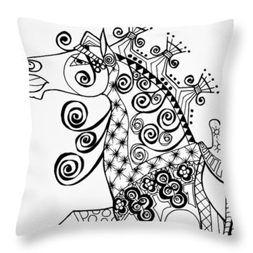 Throw Pillow featuring the drawing The King's Horse - Zentangle by Jani Freimann