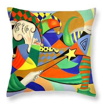 The Kings Jester Throw Pillow by Anthony Falbo