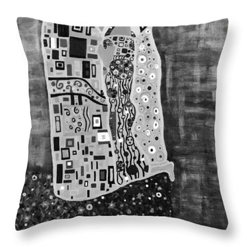 The Kiss Bw Throw Pillow by Angelina Vick