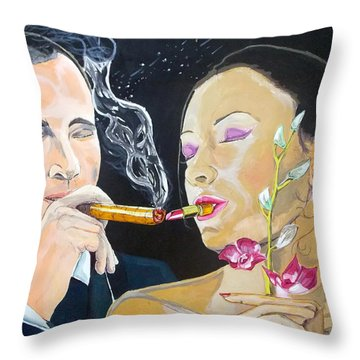 Throw Pillow featuring the painting The Kiss Edge Listen With Music Of The Description Box by Lazaro Hurtado