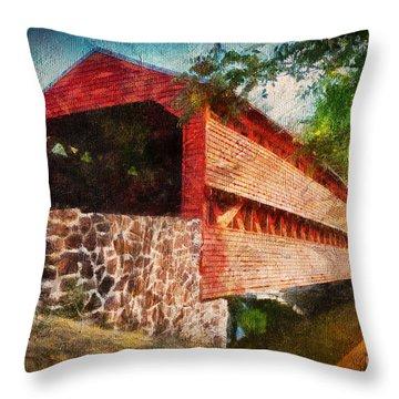 The Kissing Bridge Throw Pillow by Lois Bryan