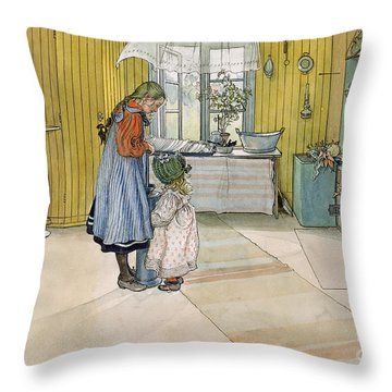 The Kitchen From A Home Series Throw Pillow by Carl Larsson
