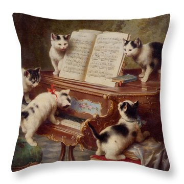 The Kittens Recital Throw Pillow