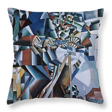 The Knife Grinder Throw Pillow by Kazimir  Malevich