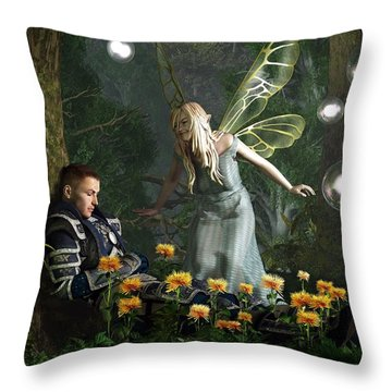 The Knight And The Faerie Throw Pillow by Daniel Eskridge