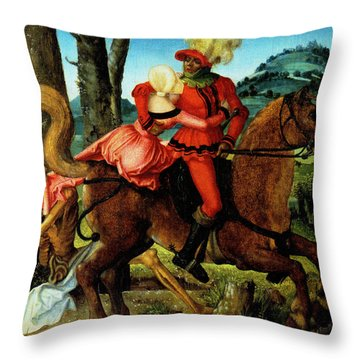 The Knight Young Girl And Death Throw Pillow by Hans Baldung