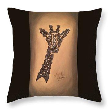 The Knotty Giraffe Throw Pillow by Sandy Jasper