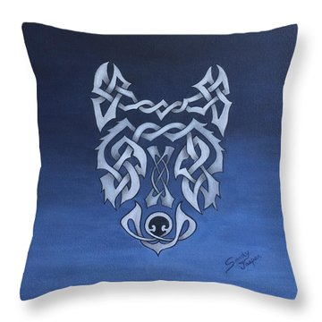 The Knotty Wolf Throw Pillow by Sandy Jasper