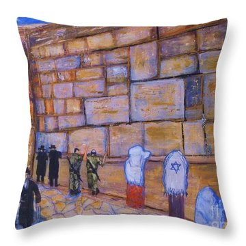 Throw Pillow featuring the painting The Kotel by Donna Dixon