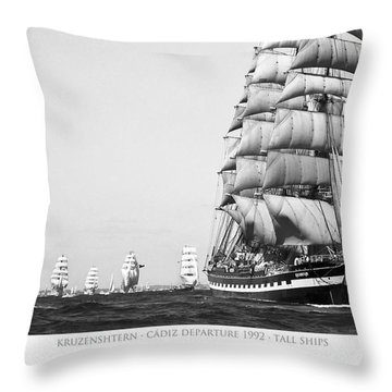 The Kruzenshtern Departing The Port Of Cadiz Throw Pillow