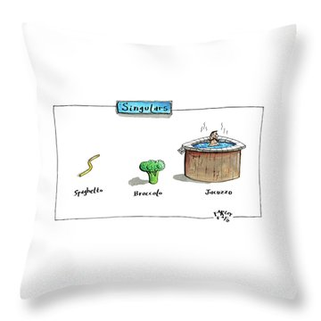 The Labels Beneath Images Of Spaghetti Throw Pillow by Farley Katz