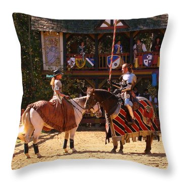 The Lady And The Knight Throw Pillow