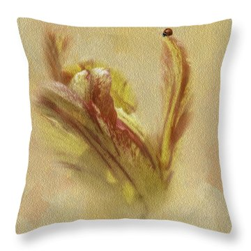 The Lady And The Parrot Tulip Throw Pillow by Diane Schuster