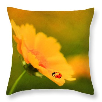 The Lady Bug Throw Pillow by Darren Fisher
